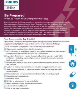 Disaster Preparedness go bag checklist